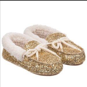 Poli Ralph Lauren Gold Glitter Slippers NWOB